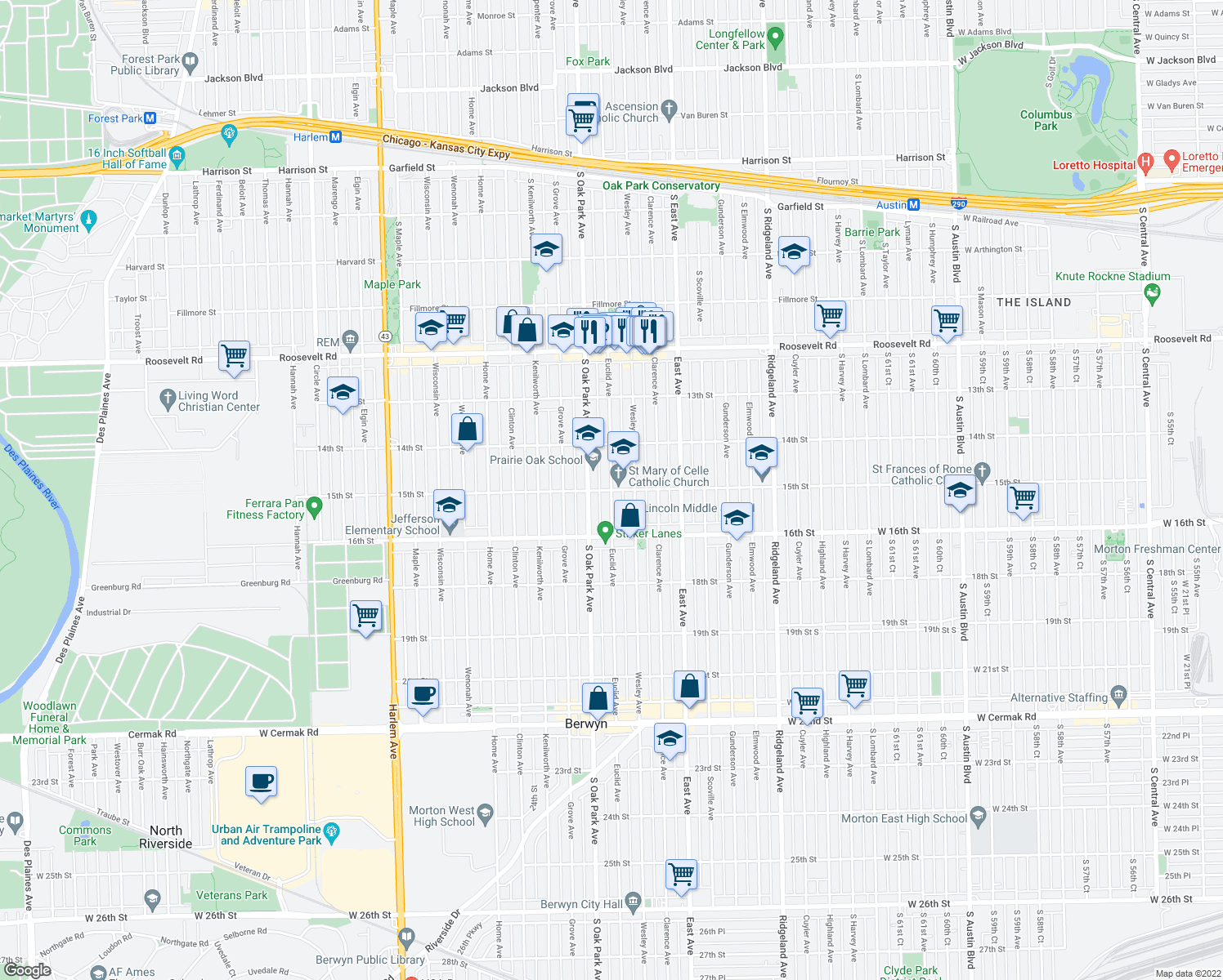 map of restaurants, bars, coffee shops, grocery stores, and more near 1519 Euclid Avenue in Berwyn