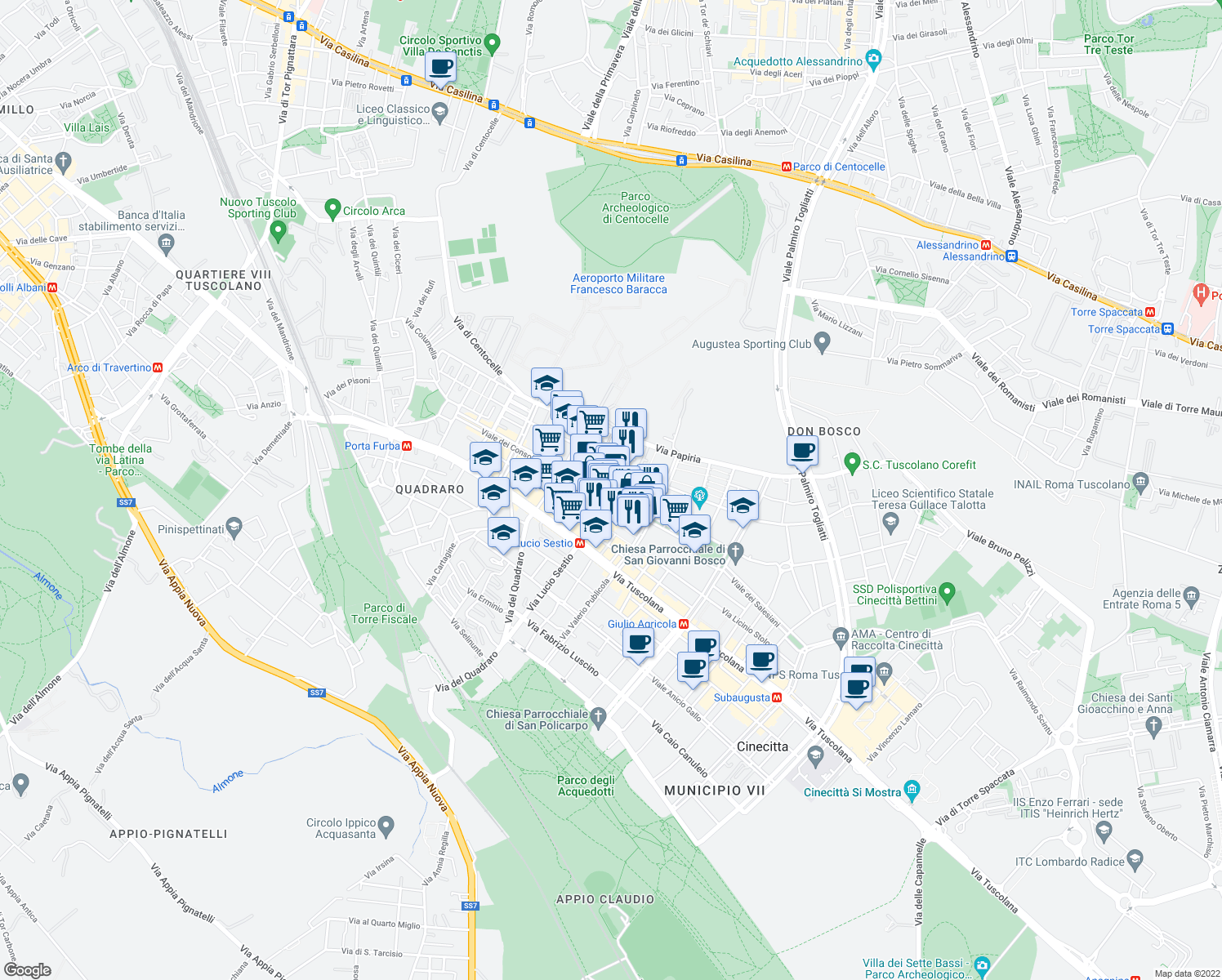 map of restaurants, bars, coffee shops, grocery stores, and more near 2-16 Via Tarquinio Collatino in Rome