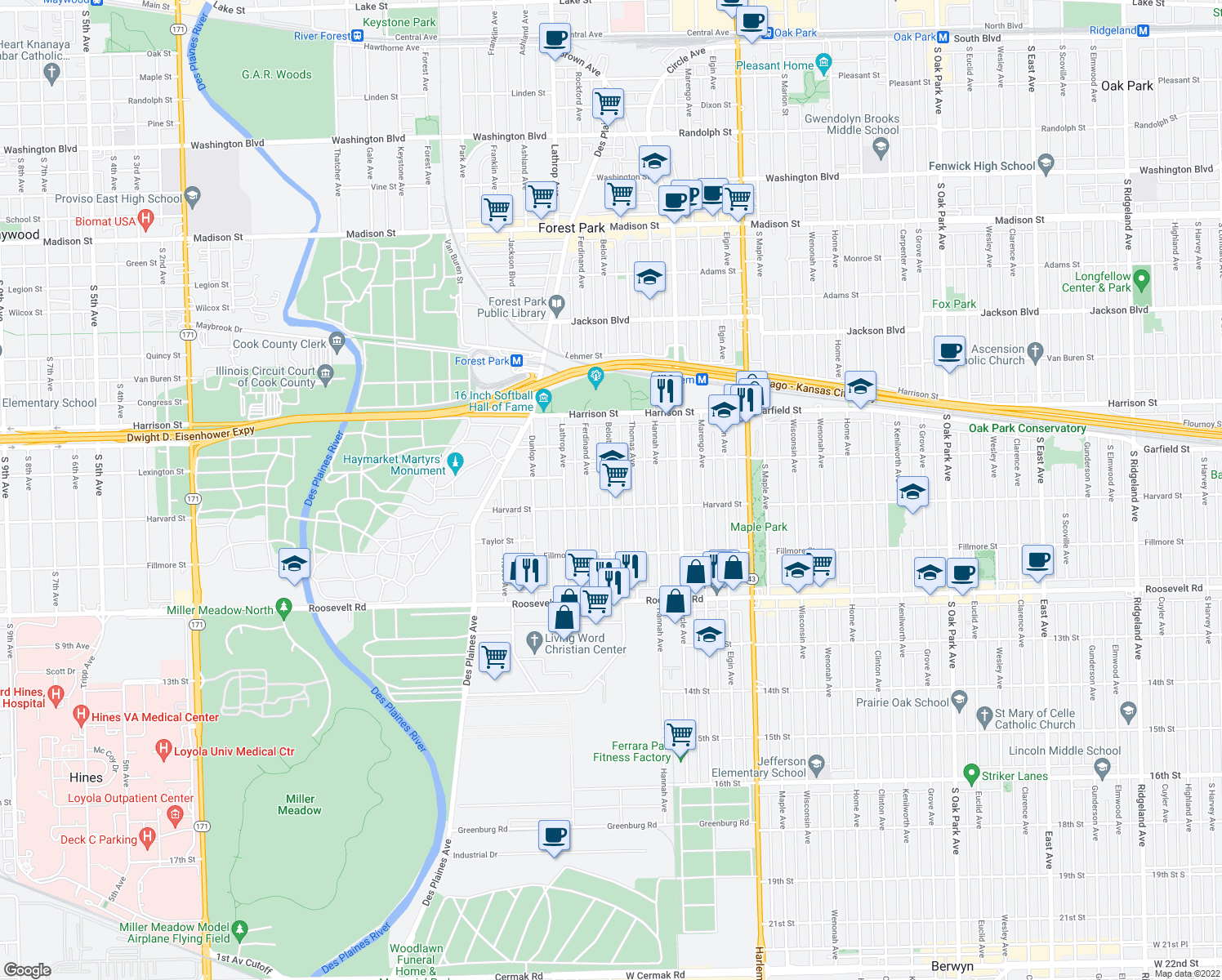 map of restaurants, bars, coffee shops, grocery stores, and more near Beloit Avenue in Forest Park