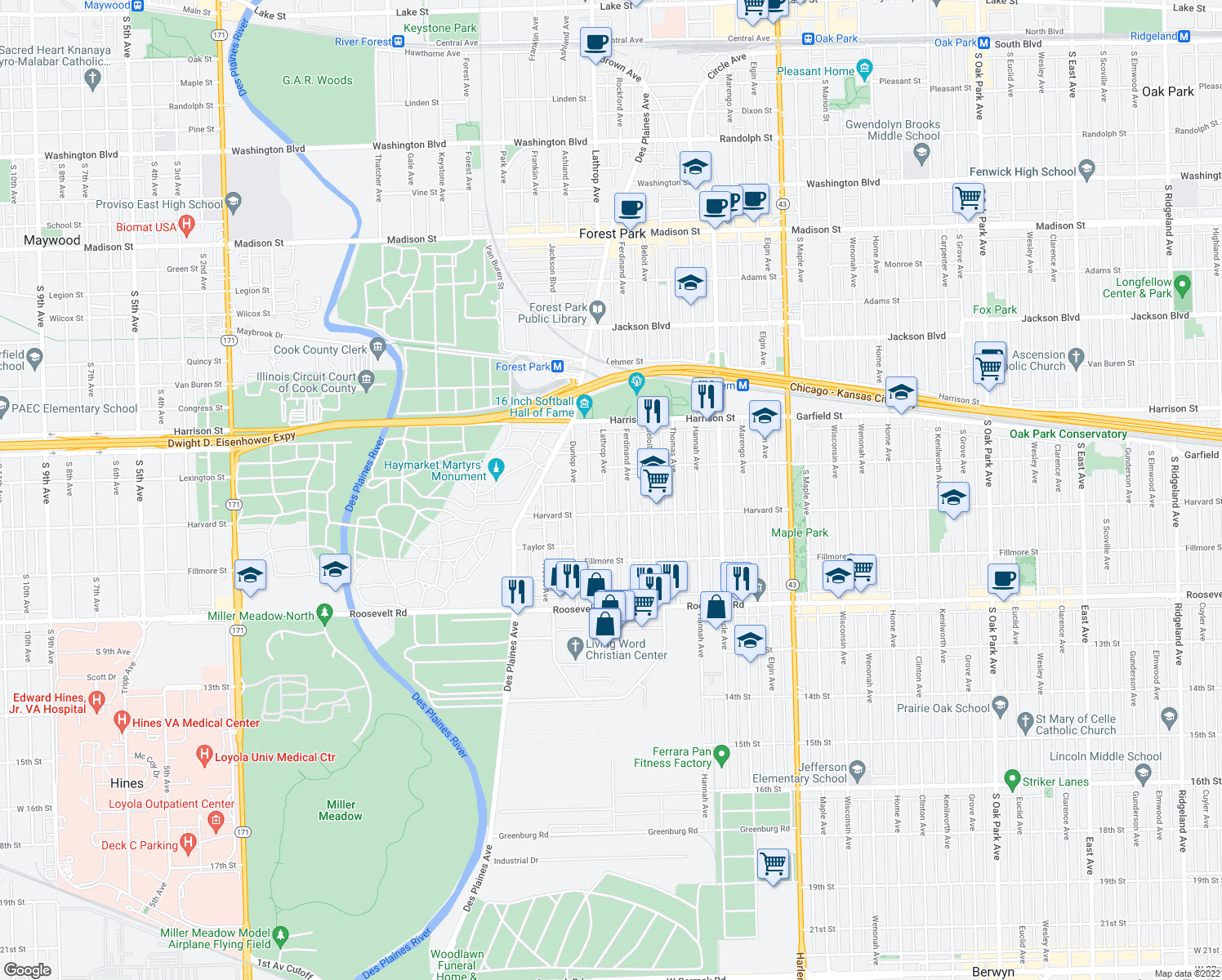 map of restaurants, bars, coffee shops, grocery stores, and more near 924 Lathrop Avenue in Forest Park