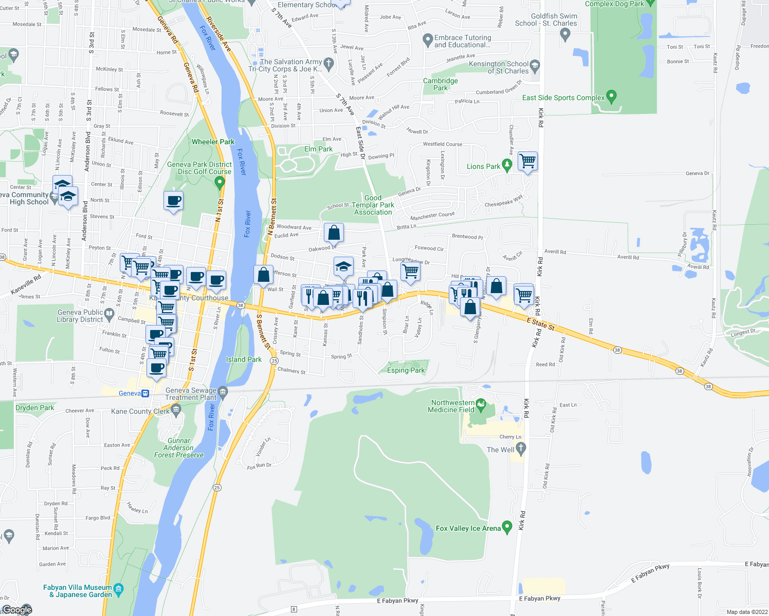 map of restaurants, bars, coffee shops, grocery stores, and more near 16 Simpson Street in Geneva