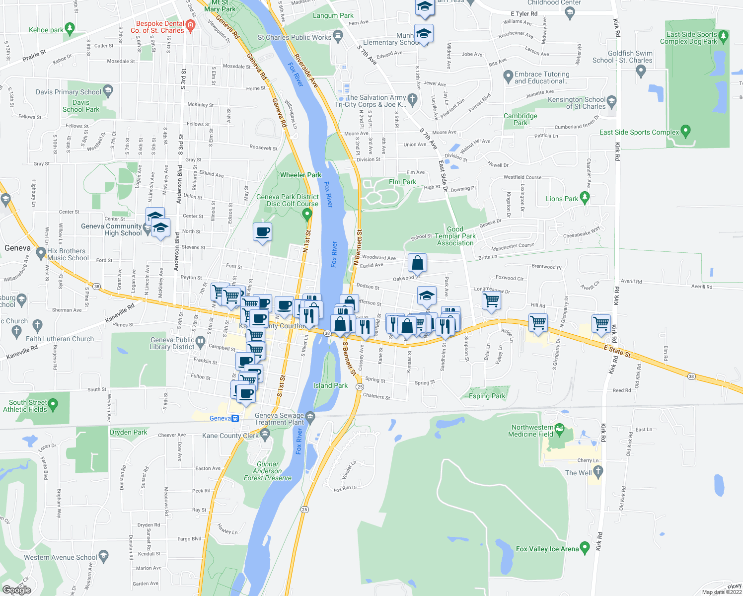 map of restaurants, bars, coffee shops, grocery stores, and more near 215 Jefferson St in Geneva