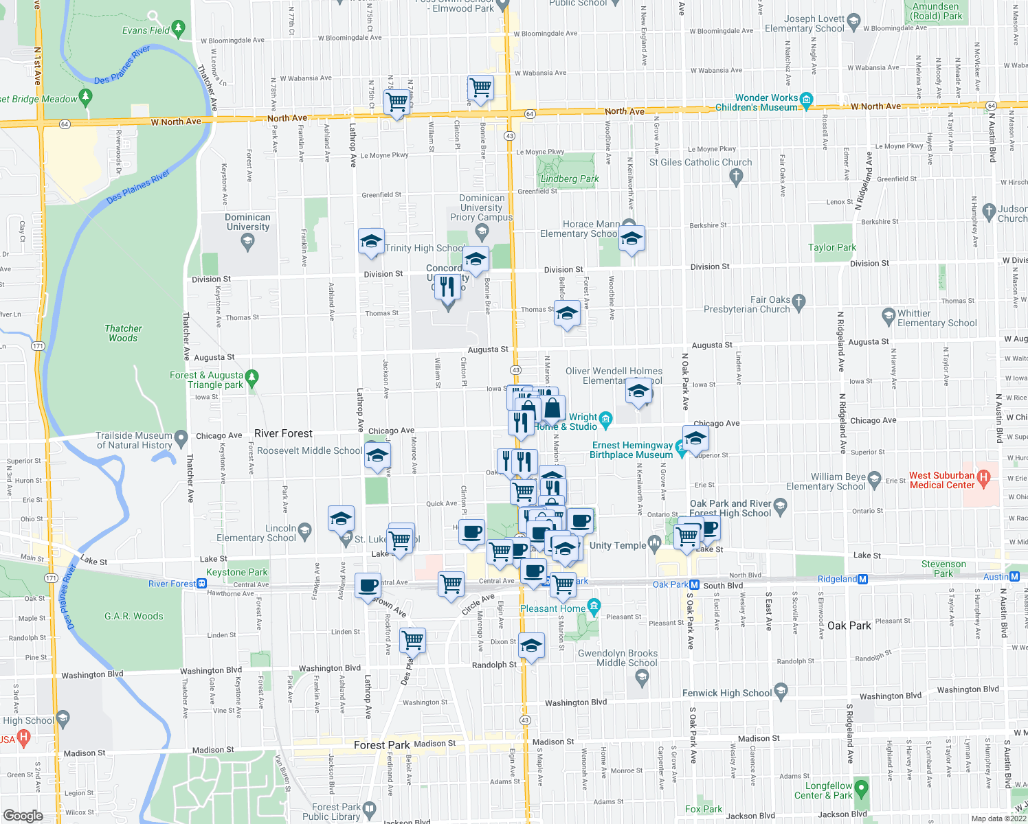 map of restaurants, bars, coffee shops, grocery stores, and more near 822 North Harlem Avenue in River Forest
