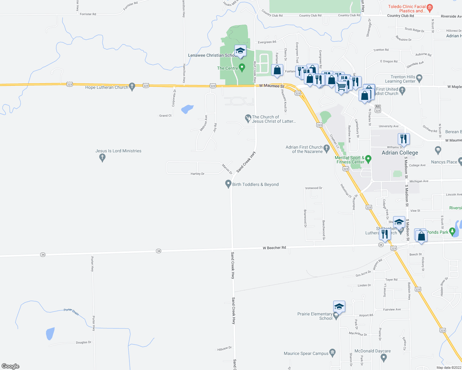 map of restaurants, bars, coffee shops, grocery stores, and more near 1649 Sand Creek Highway in Adrian