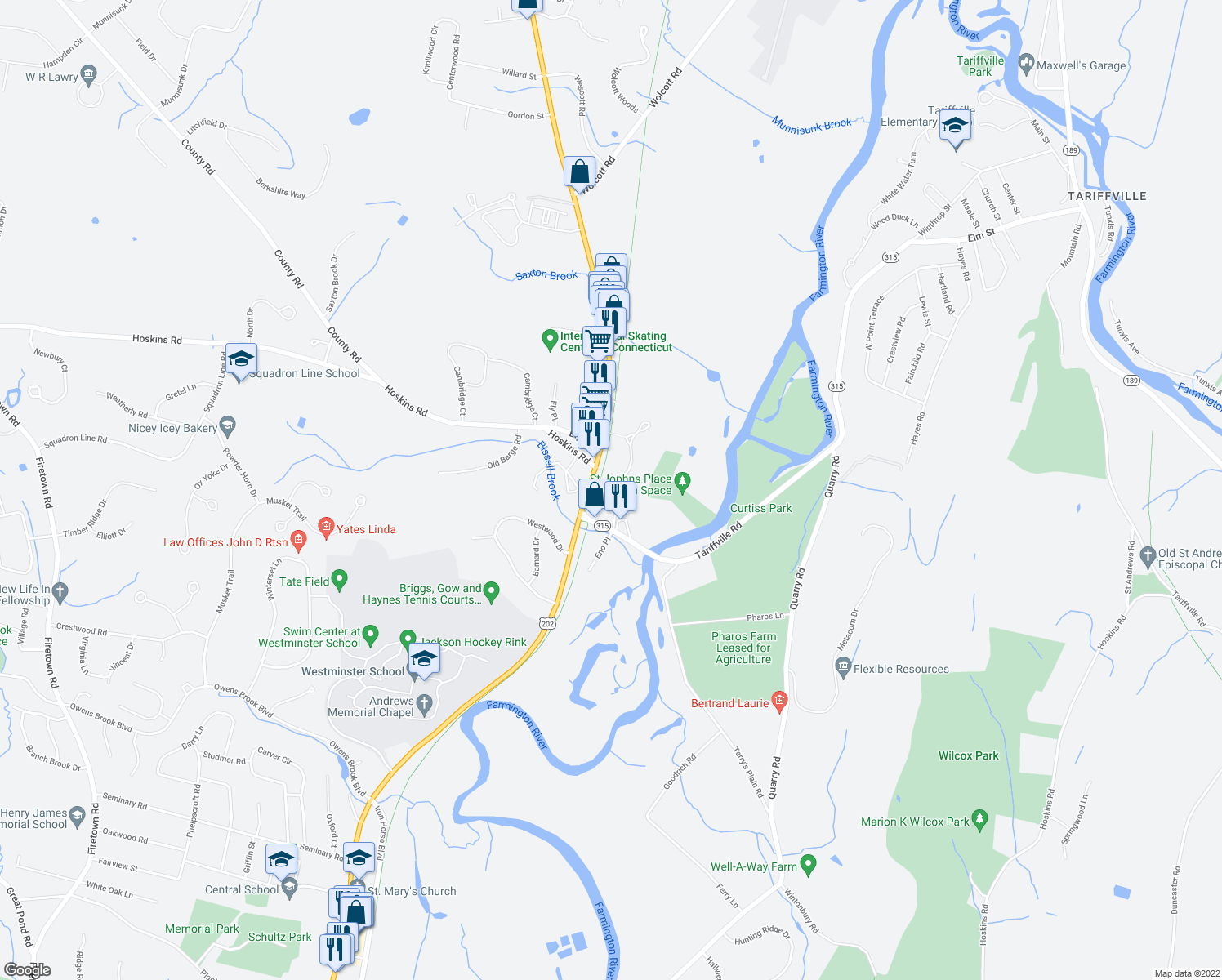 map of restaurants, bars, coffee shops, grocery stores, and more near 75 St.Johns Place in Simsbury