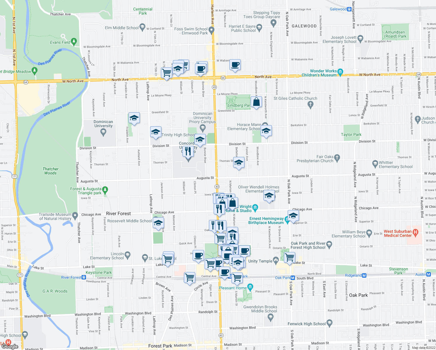 map of restaurants, bars, coffee shops, grocery stores, and more near 1017 North Harlem Avenue in Oak Park