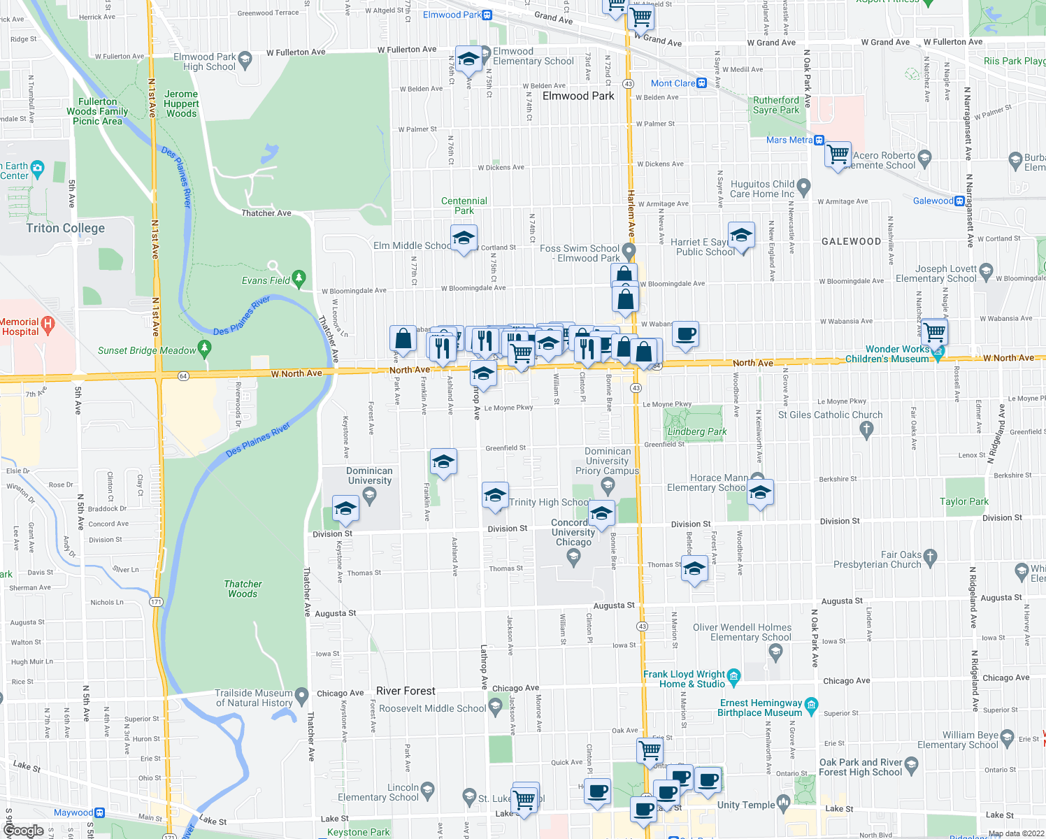 map of restaurants, bars, coffee shops, grocery stores, and more near 1434 Monroe Avenue in River Forest