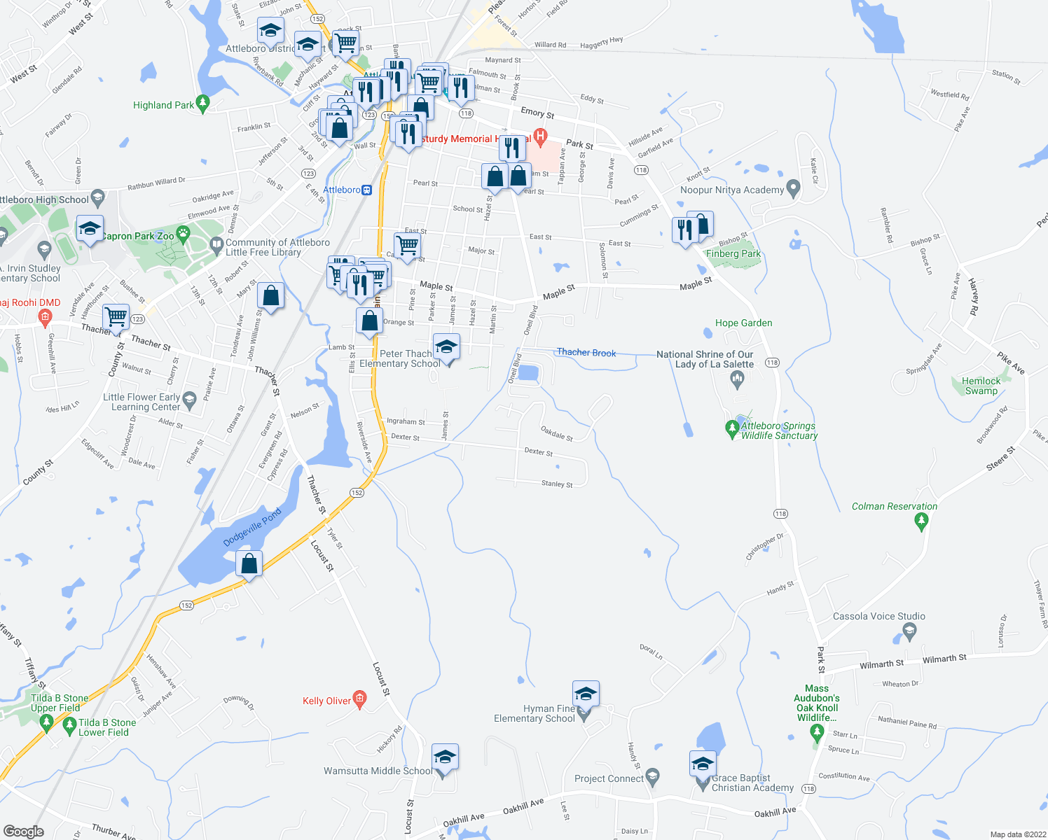 map of restaurants, bars, coffee shops, grocery stores, and more near 45 Oakdale Street in Attleboro