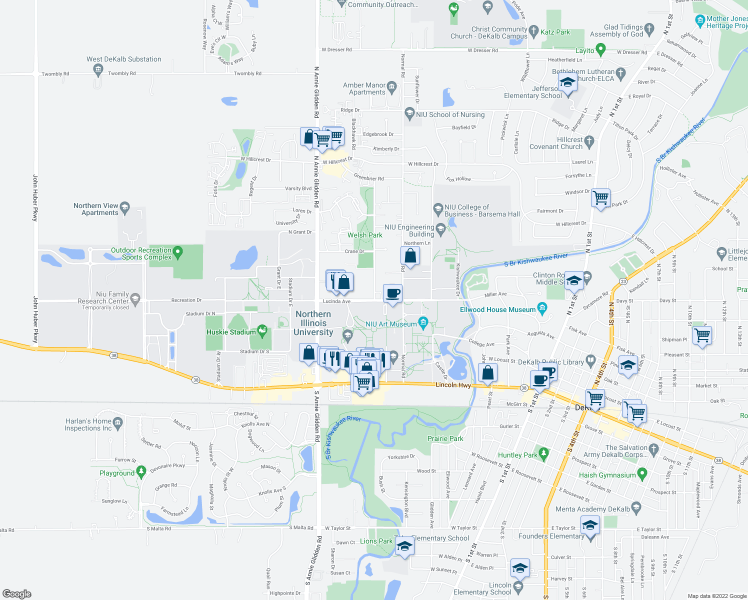 map of restaurants, bars, coffee shops, grocery stores, and more near 431 Russell Road in DeKalb