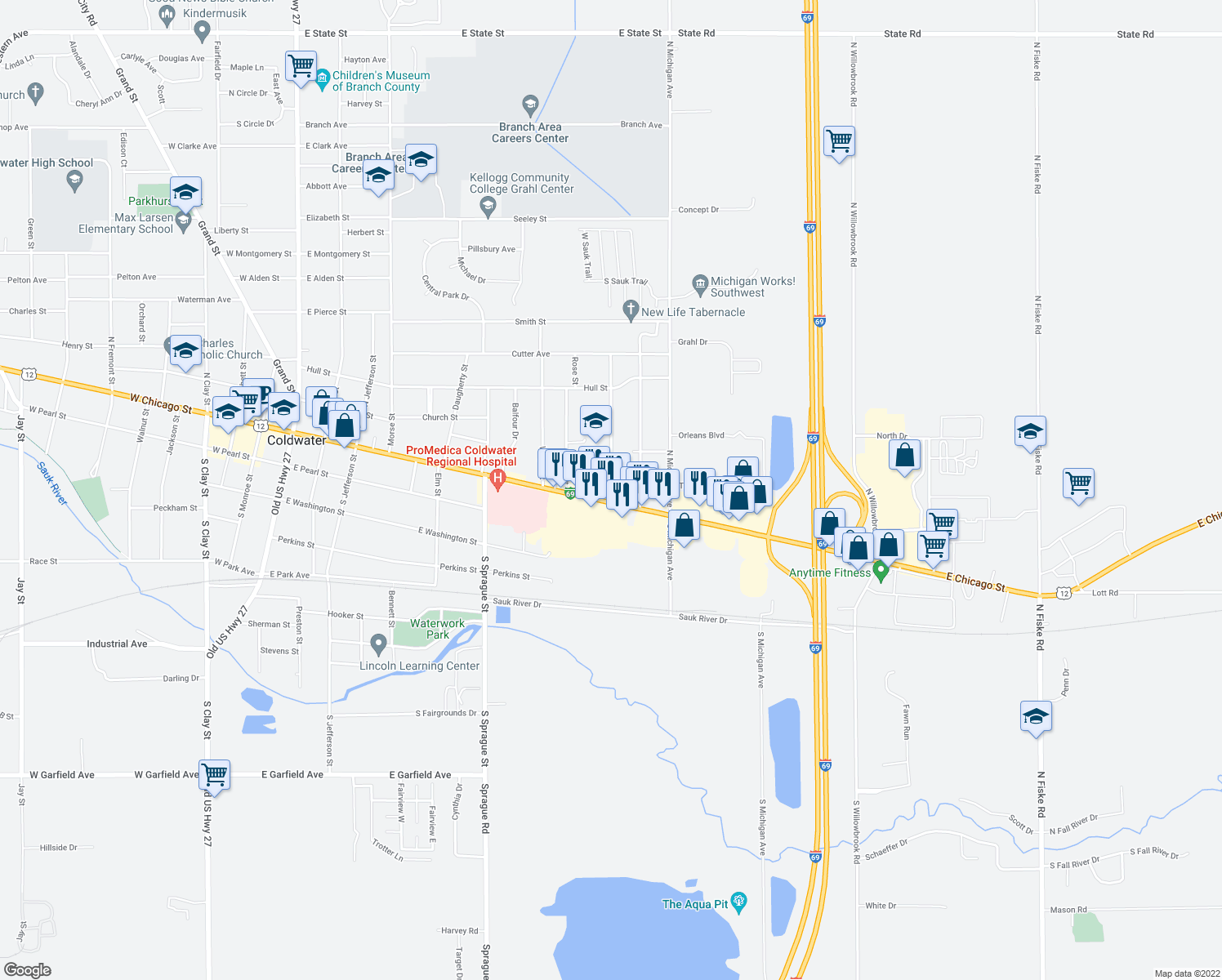 map of restaurants, bars, coffee shops, grocery stores, and more near 2-10 Vans Avenue in Coldwater