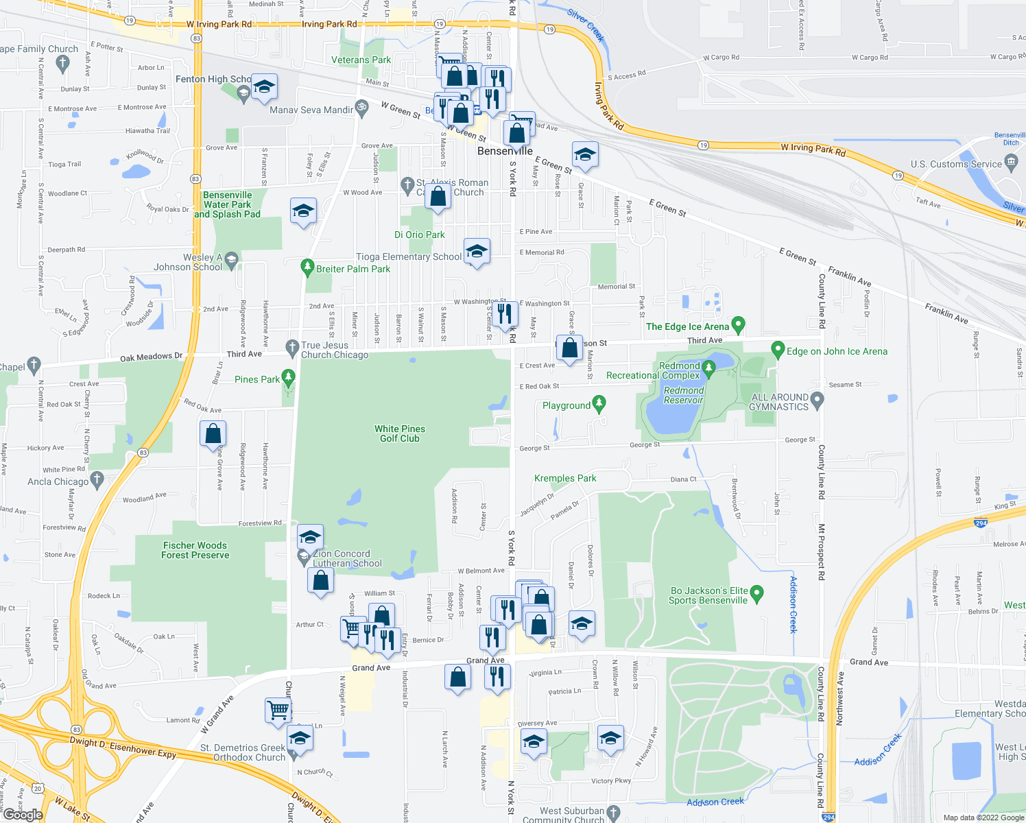 map of restaurants, bars, coffee shops, grocery stores, and more near 629 South York Road in Bensenville