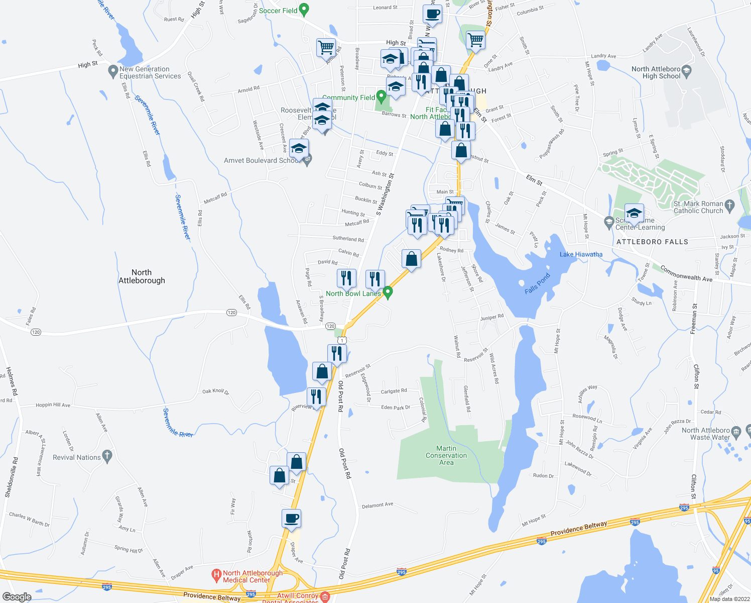 map of restaurants, bars, coffee shops, grocery stores, and more near 28 East Washington Street in North Attleborough