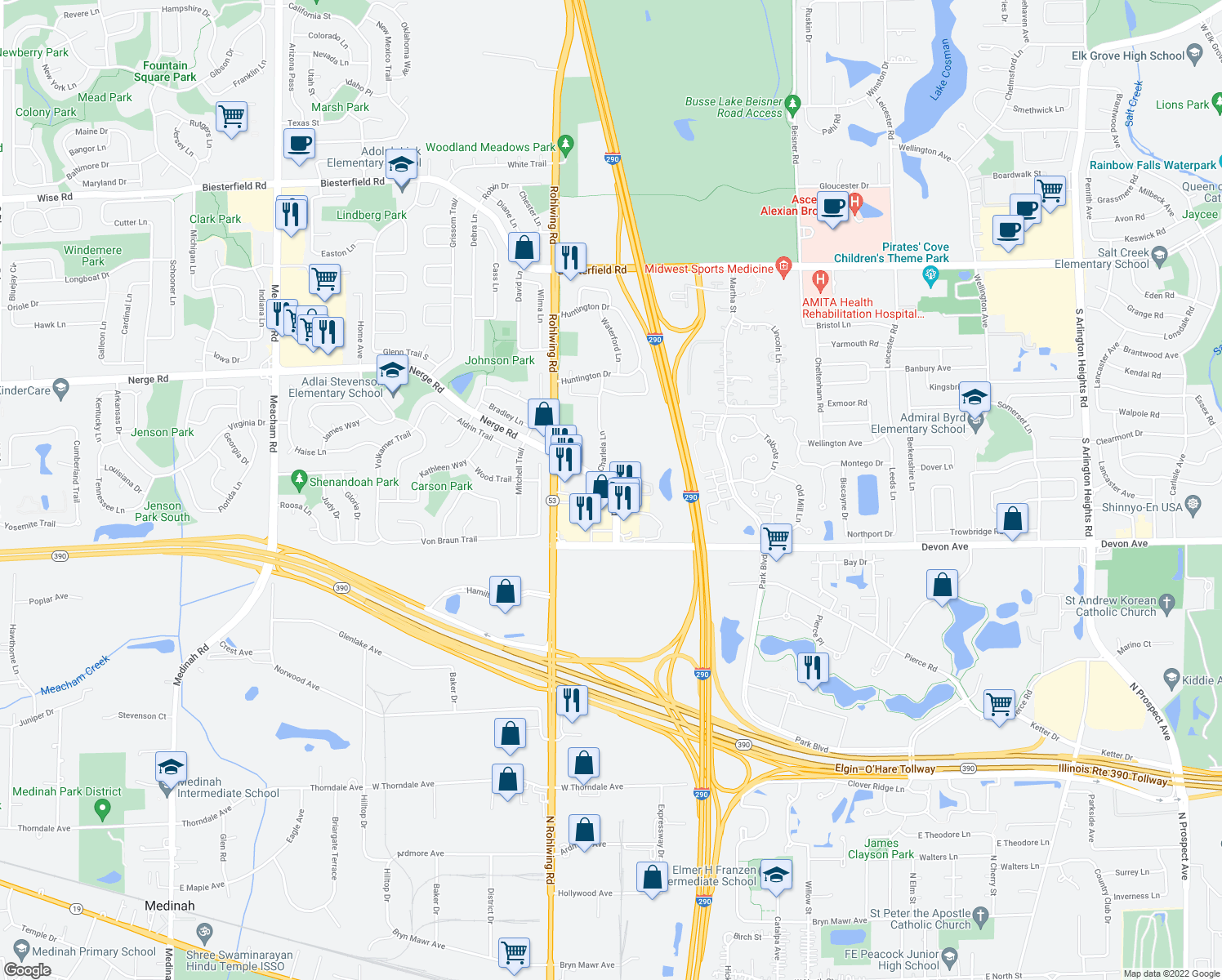 map of restaurants, bars, coffee shops, grocery stores, and more near 1045 Nerge Road in Elk Grove Village