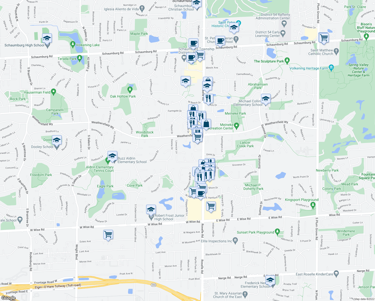 map of restaurants, bars, coffee shops, grocery stores, and more near 721 Tipperary Court in Schaumburg