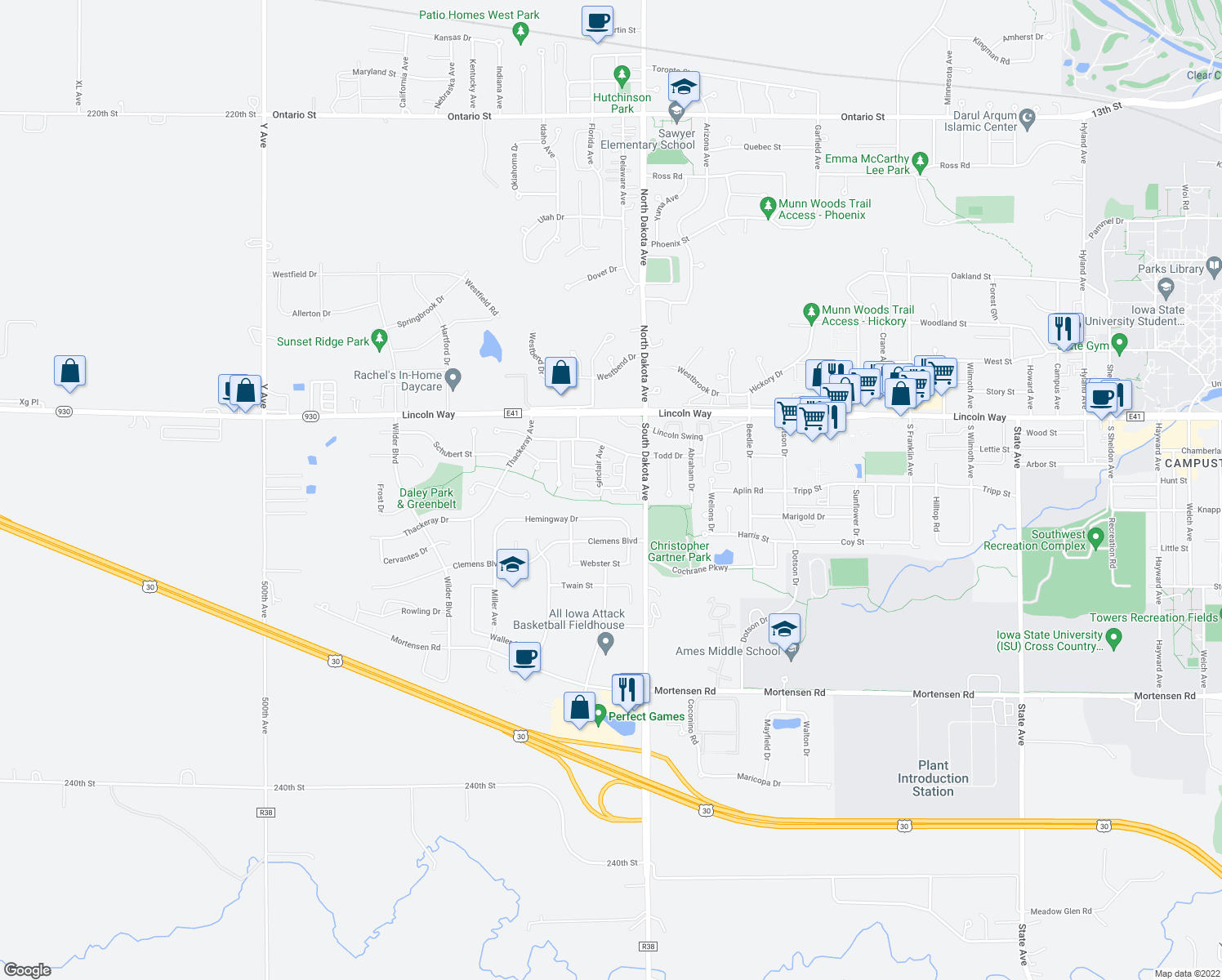 map of restaurants, bars, coffee shops, grocery stores, and more near 240 Raphael Avenue in Ames