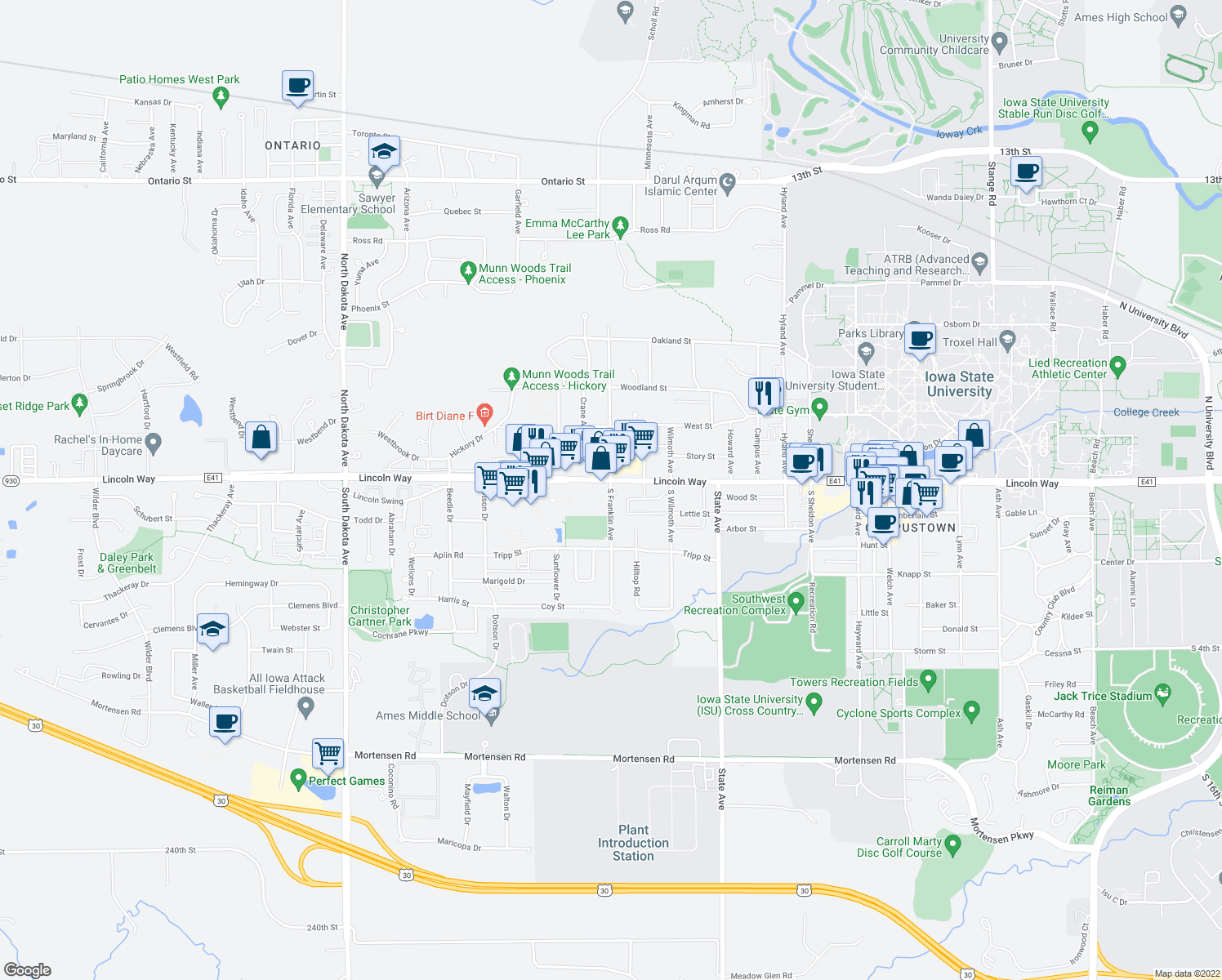 map of restaurants, bars, coffee shops, grocery stores, and more near South Franklin Avenue in Ames