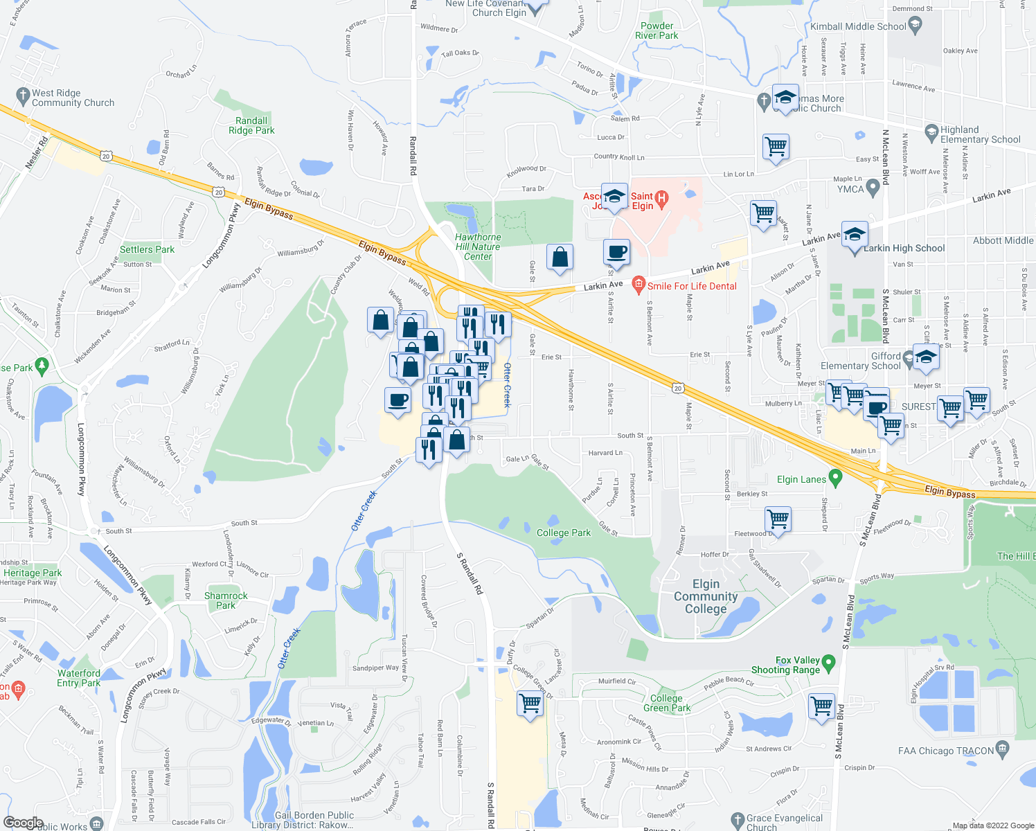 map of restaurants, bars, coffee shops, grocery stores, and more near 300 Nautical Way in Elgin
