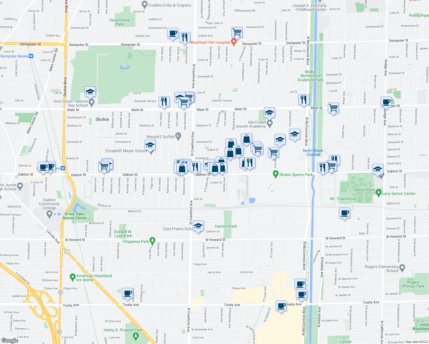 map of restaurants, bars, coffee shops, grocery stores, and more near 3856 Oakton Street in Skokie