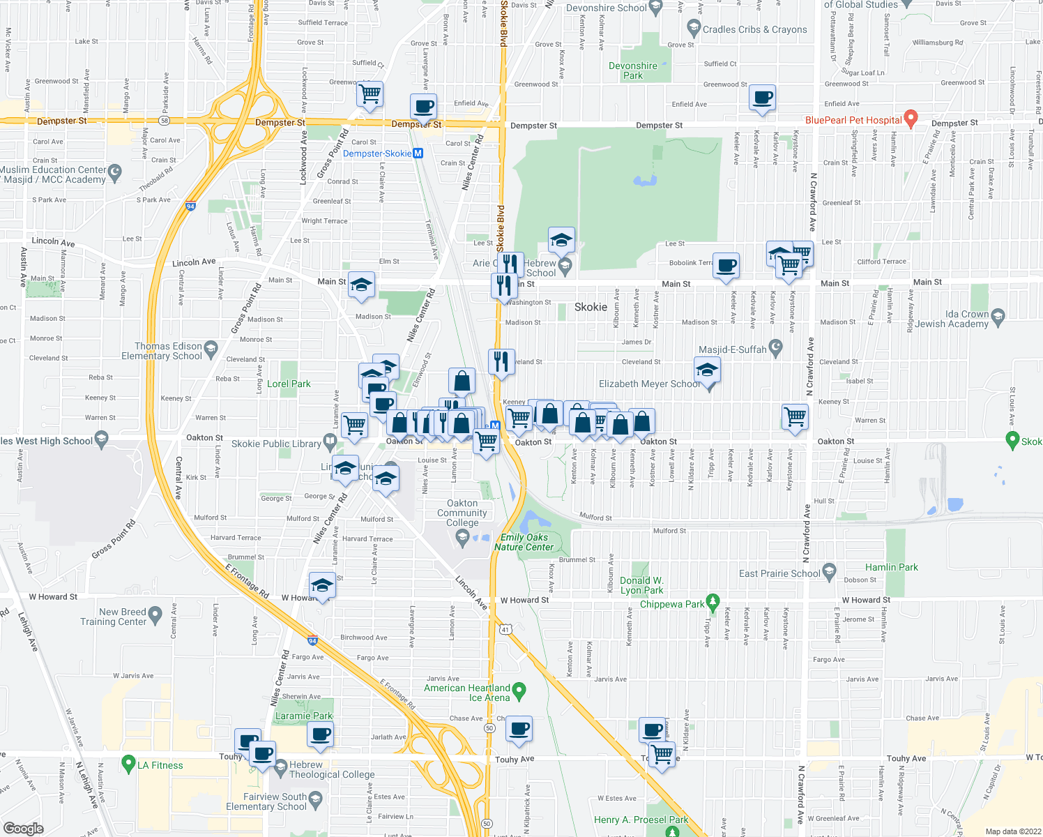 map of restaurants, bars, coffee shops, grocery stores, and more near 8020 Kilpatrick Avenue in Skokie