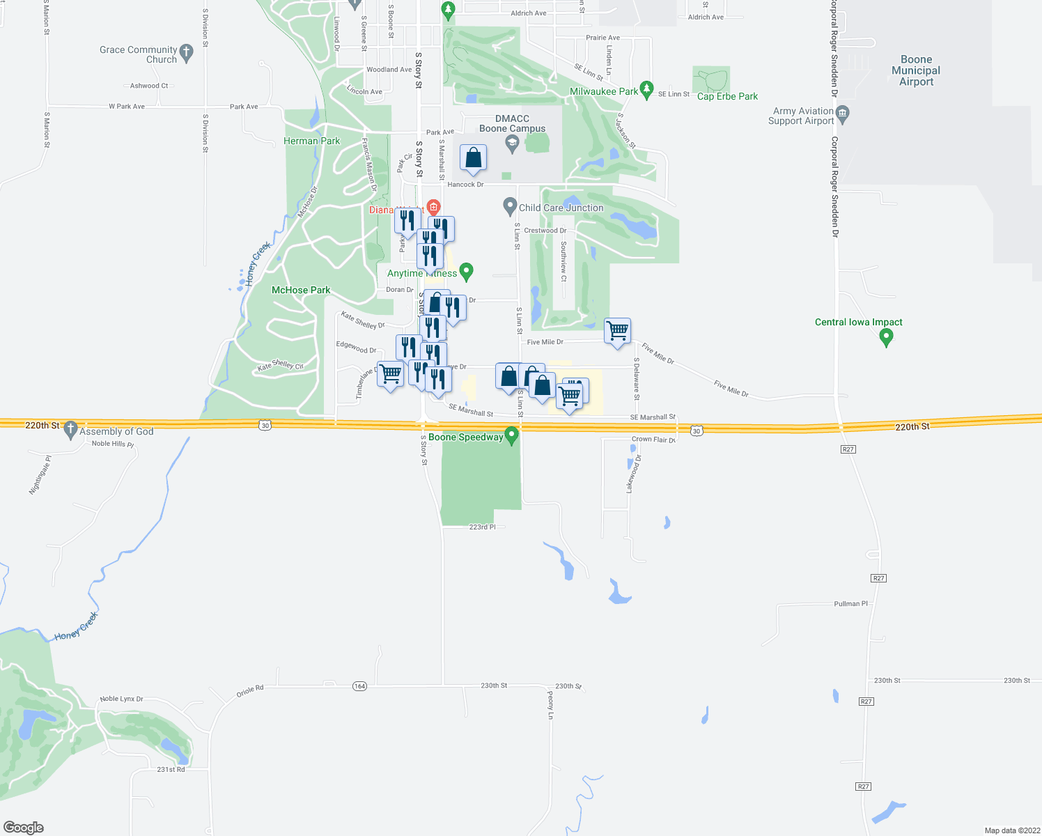map of restaurants, bars, coffee shops, grocery stores, and more near 220th Street in Boone