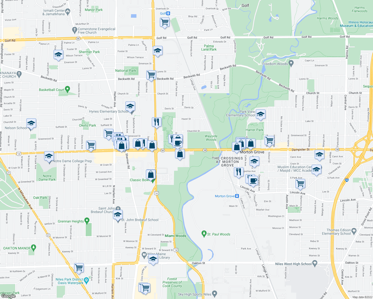 map of restaurants, bars, coffee shops, grocery stores, and more near West Dempster Street in Morton Grove