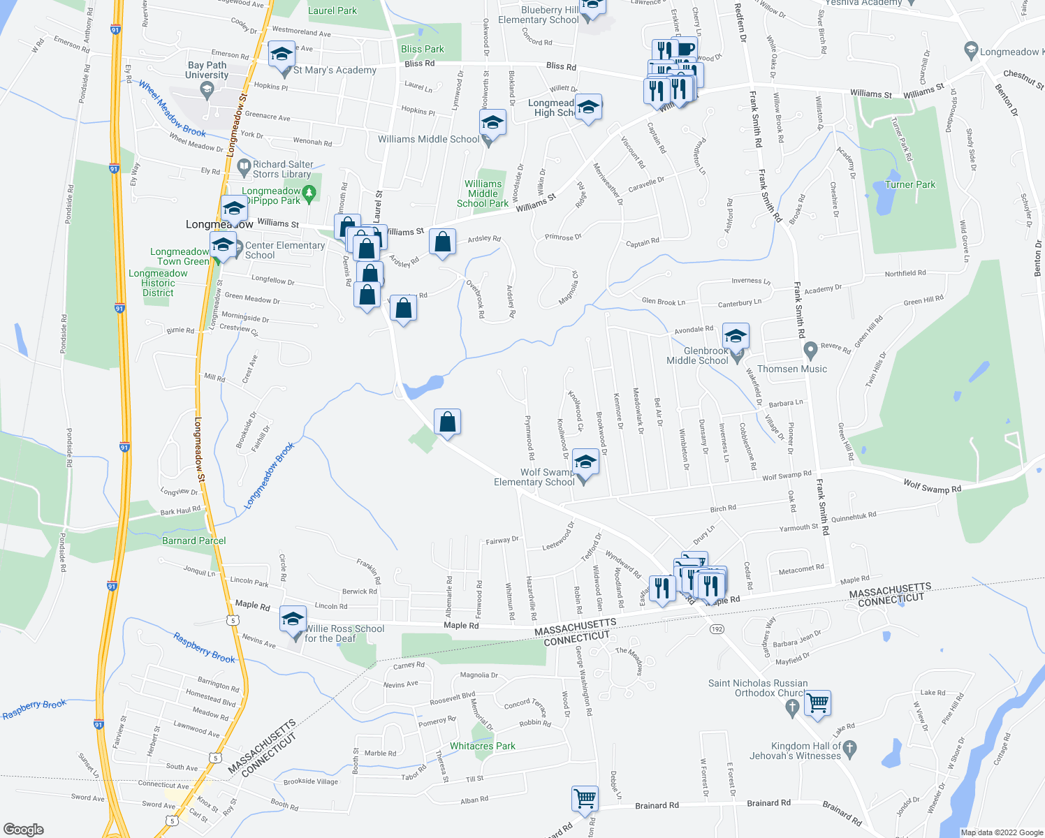 map of restaurants, bars, coffee shops, grocery stores, and more near 132 Prynnwood Road in Longmeadow