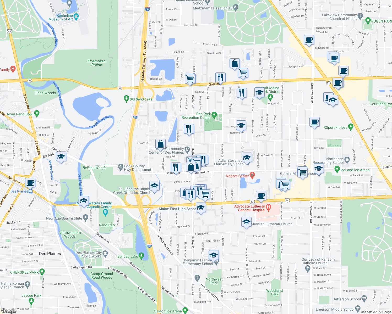 map of restaurants, bars, coffee shops, grocery stores, and more near 9127 Potter Road in Des Plaines