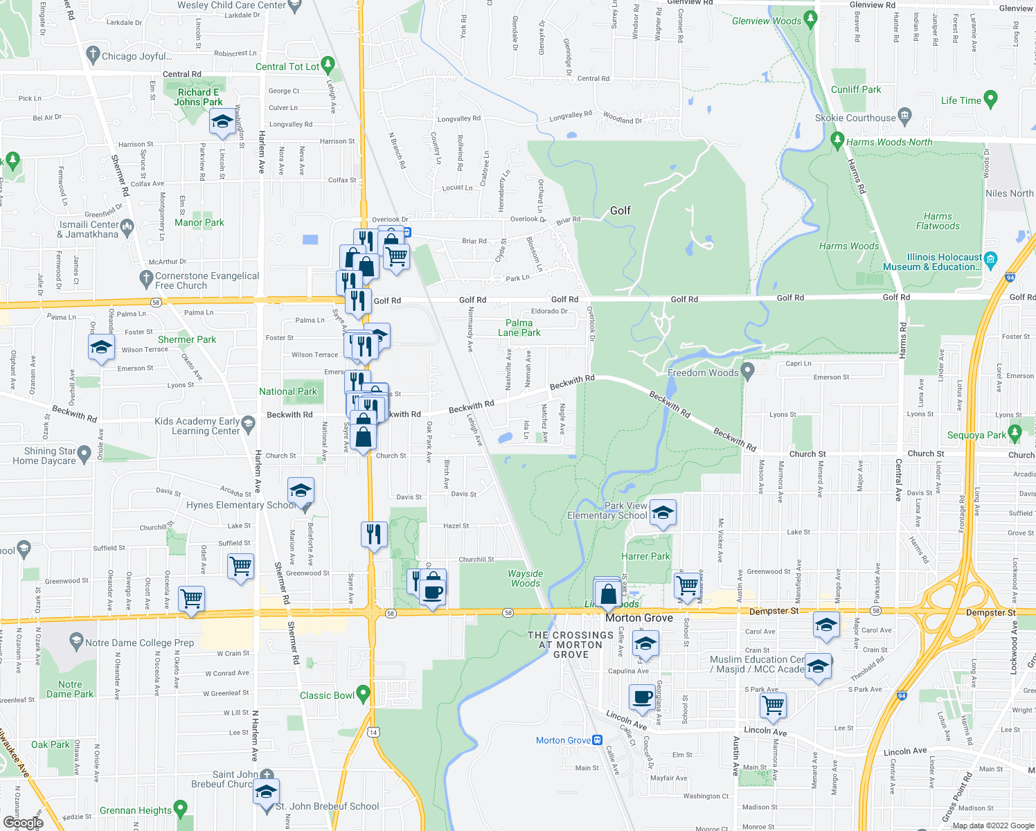 map of restaurants, bars, coffee shops, grocery stores, and more near 6538 Maple Street in Morton Grove