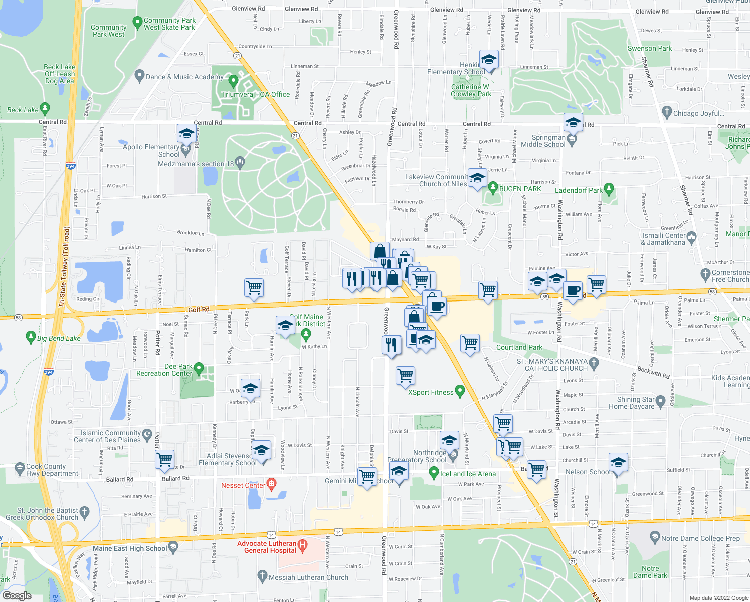 map of restaurants, bars, coffee shops, grocery stores, and more near 8631 Elm Drive in Des Plaines