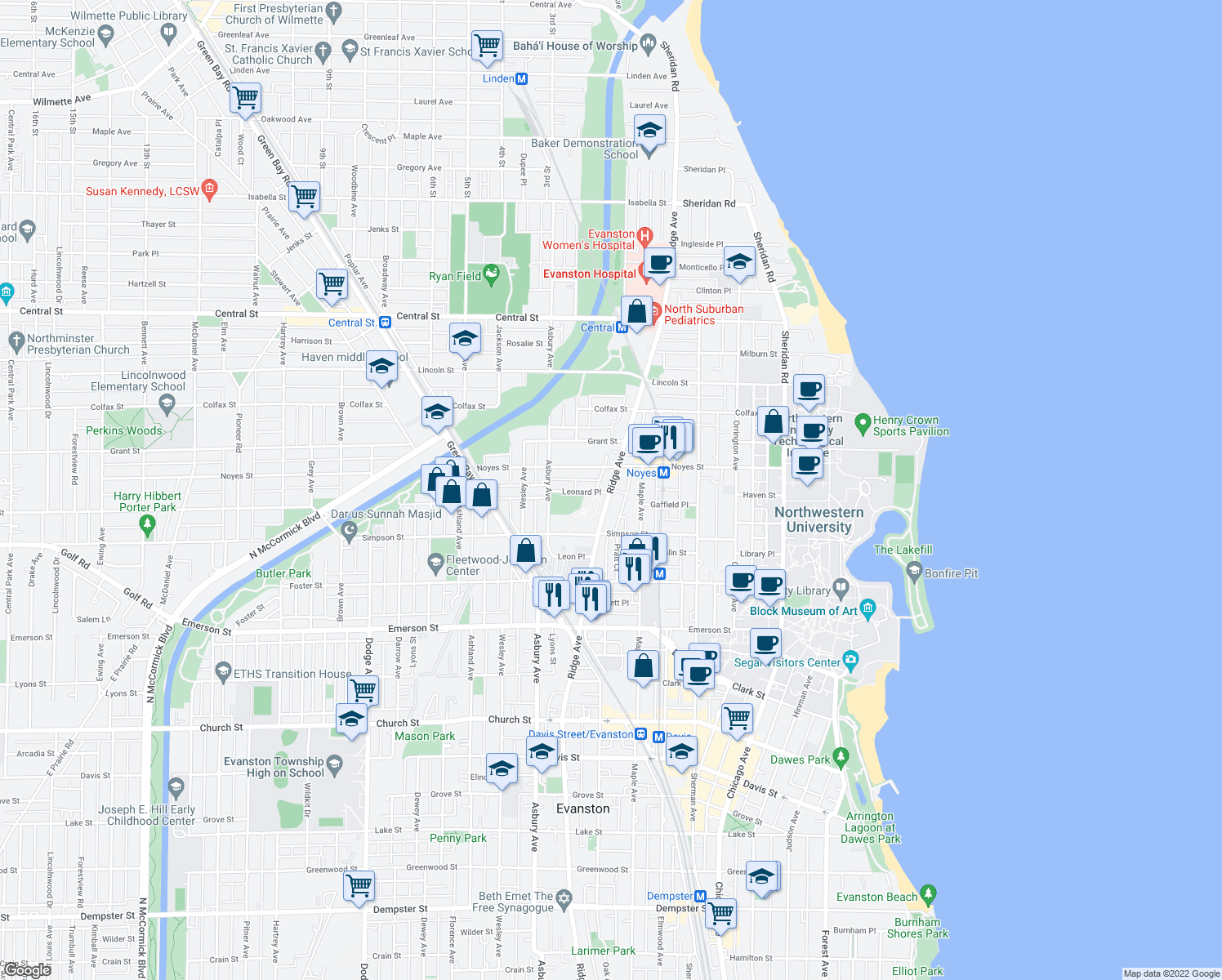 map of restaurants, bars, coffee shops, grocery stores, and more near 2203 Ridge Avenue in Evanston