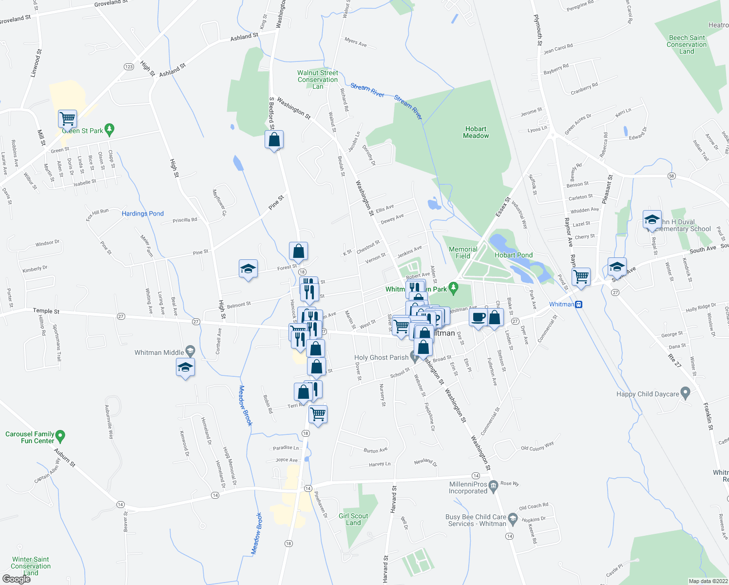 map of restaurants, bars, coffee shops, grocery stores, and more near 100 Myrtle Avenue in Whitman