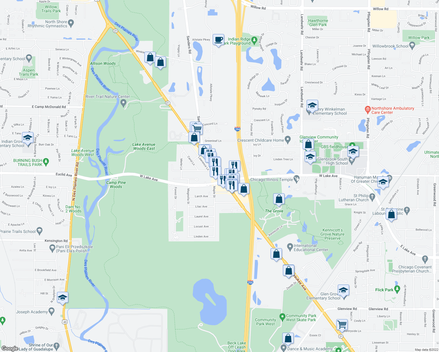 map of restaurants, bars, coffee shops, grocery stores, and more near 2040 Milwaukee Avenue in Northbrook