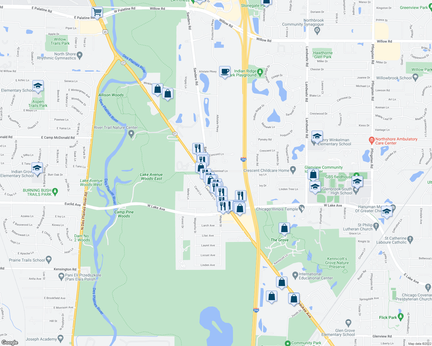 map of restaurants, bars, coffee shops, grocery stores, and more near 3760 Greenleaf Lane in Northbrook