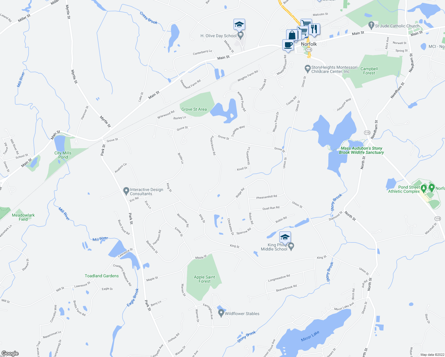 map of restaurants, bars, coffee shops, grocery stores, and more near 19 Fredrickson Road in Norfolk