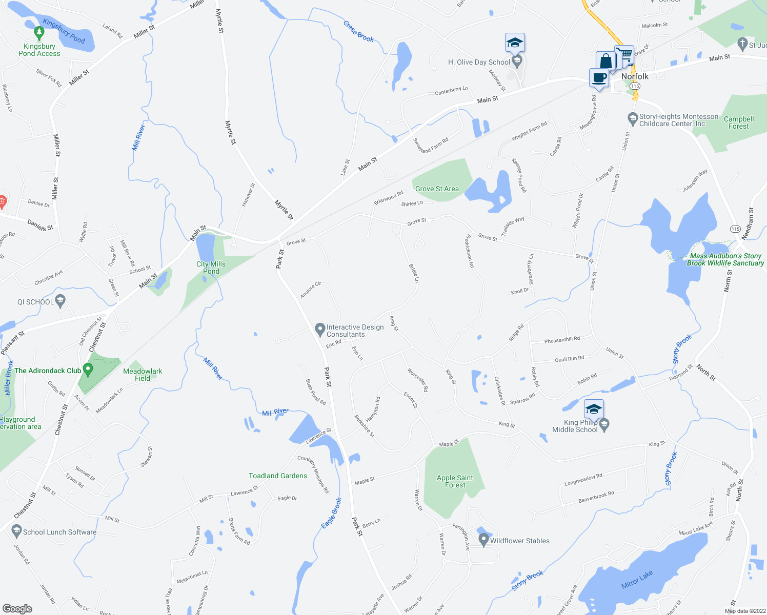 map of restaurants, bars, coffee shops, grocery stores, and more near 21 Eric Road in Norfolk