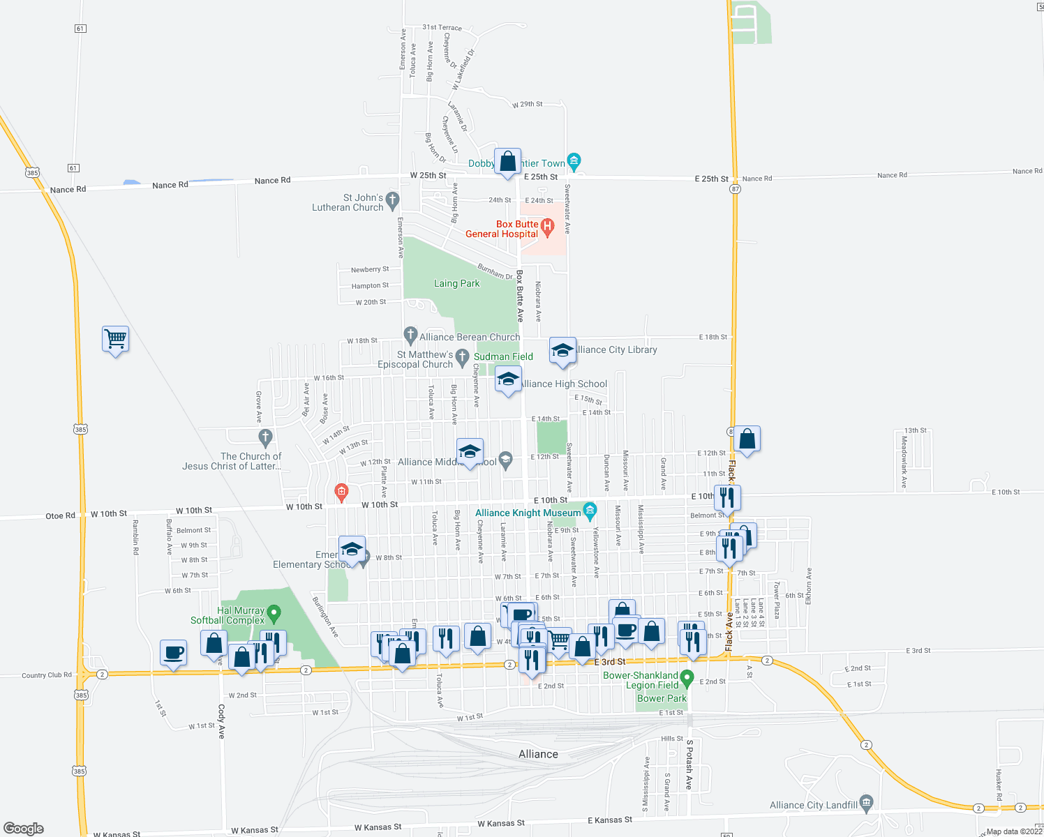 map of restaurants, bars, coffee shops, grocery stores, and more near 1232 Box Butte Avenue in Alliance