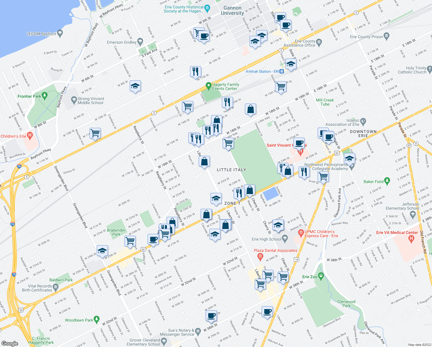 map of restaurants, bars, coffee shops, grocery stores, and more near 714 West 22nd Street in Erie