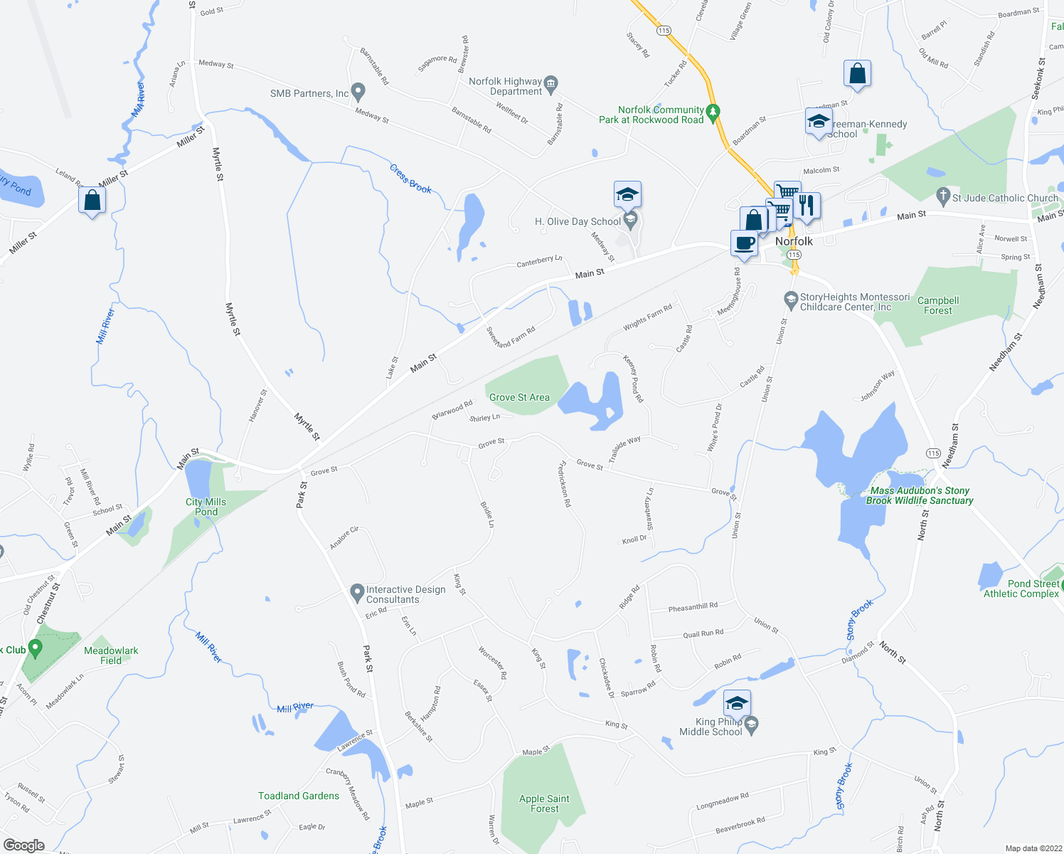 map of restaurants, bars, coffee shops, grocery stores, and more near 54 Grove Street in Norfolk