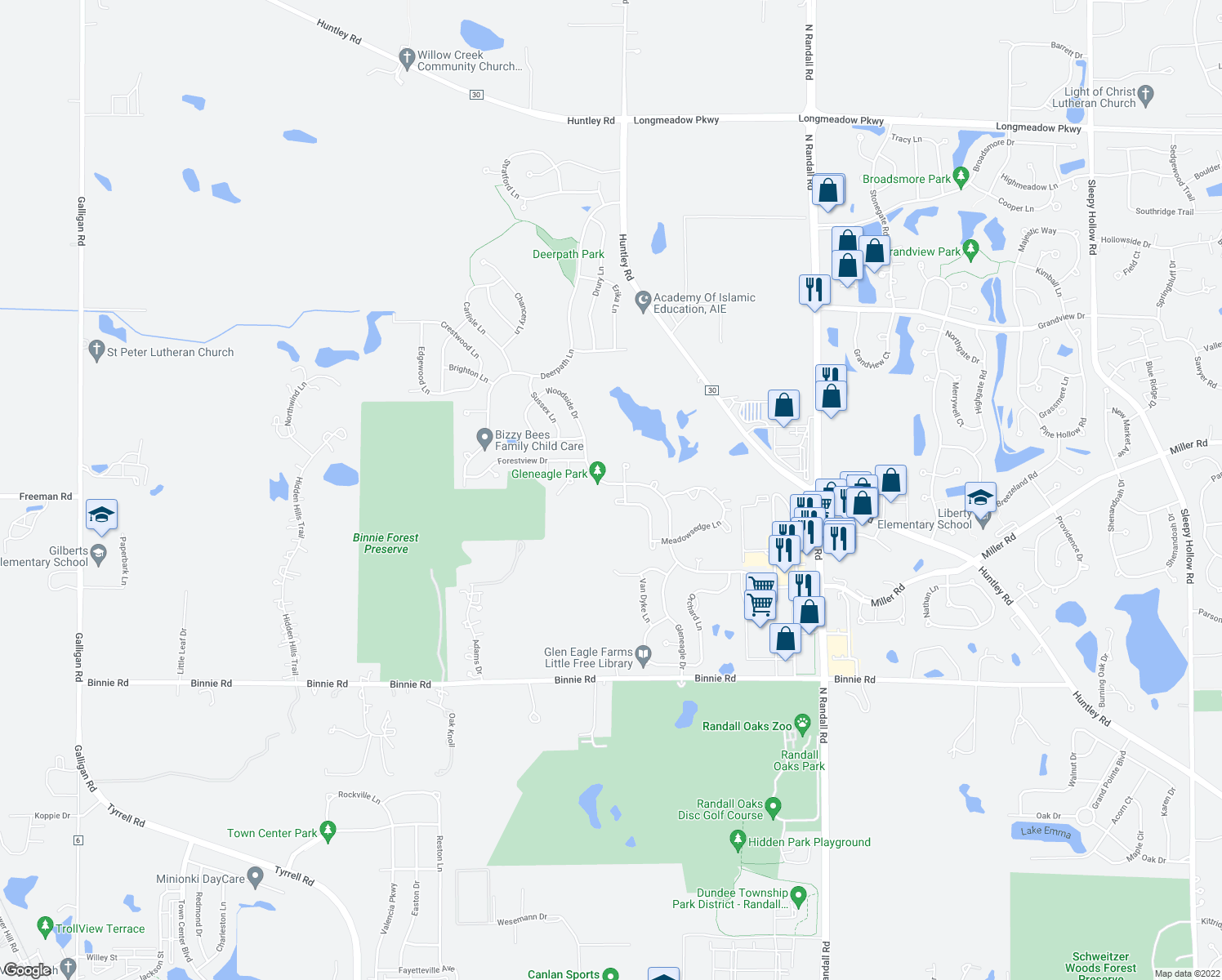 map of restaurants, bars, coffee shops, grocery stores, and more near 2366 Woodside Drive in Carpentersville