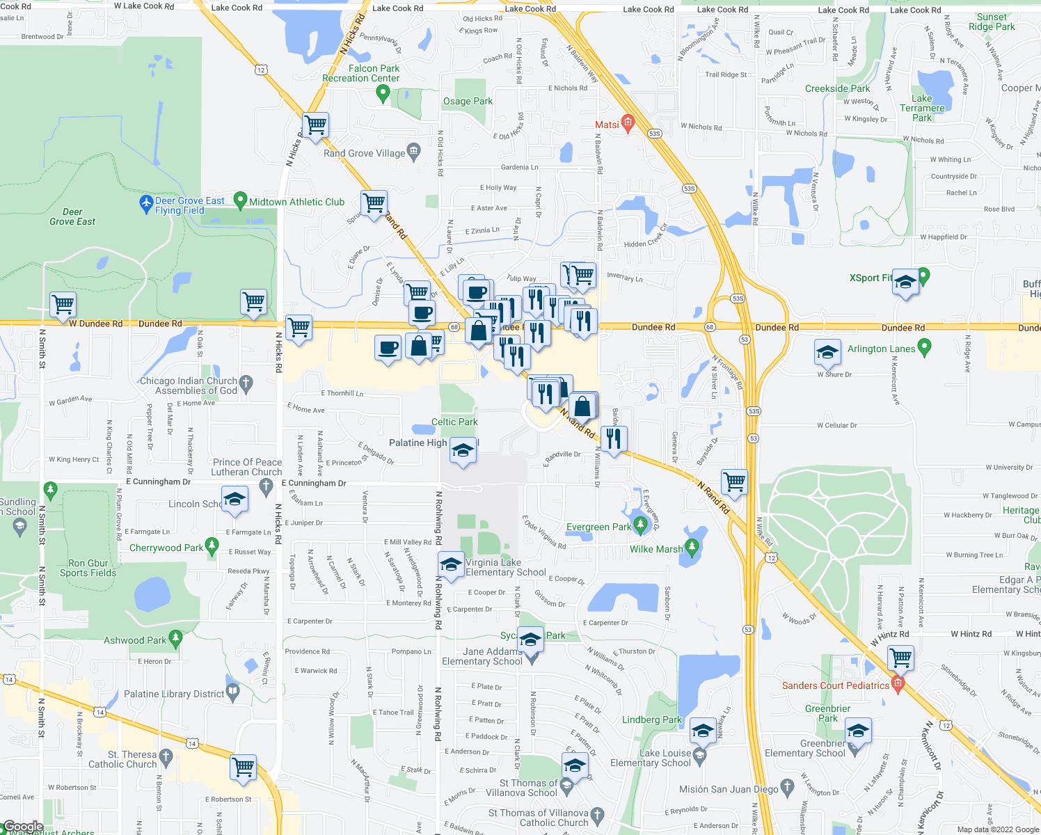 map of restaurants, bars, coffee shops, grocery stores, and more near 1463 North Winslowe Drive in Palatine