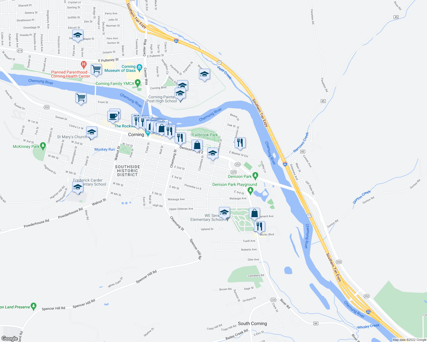map of restaurants, bars, coffee shops, grocery stores, and more near 162 Steuben Street in Corning