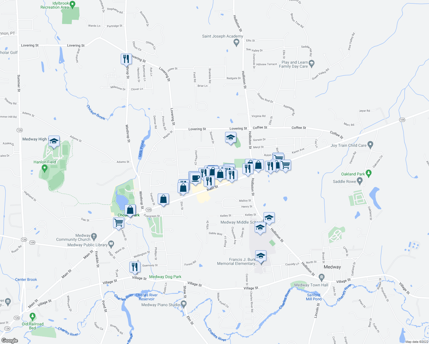 map of restaurants, bars, coffee shops, grocery stores, and more near 28 Meadow Road in Medway