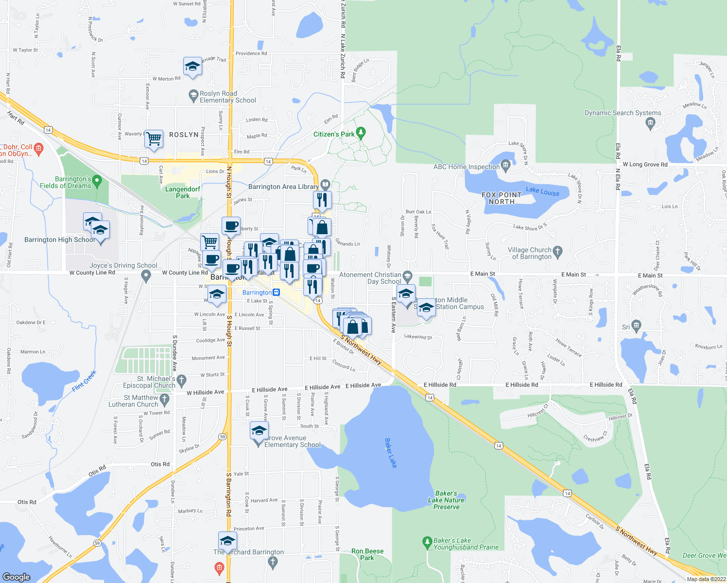 map of restaurants, bars, coffee shops, grocery stores, and more near 134 South Glendale Avenue in Barrington