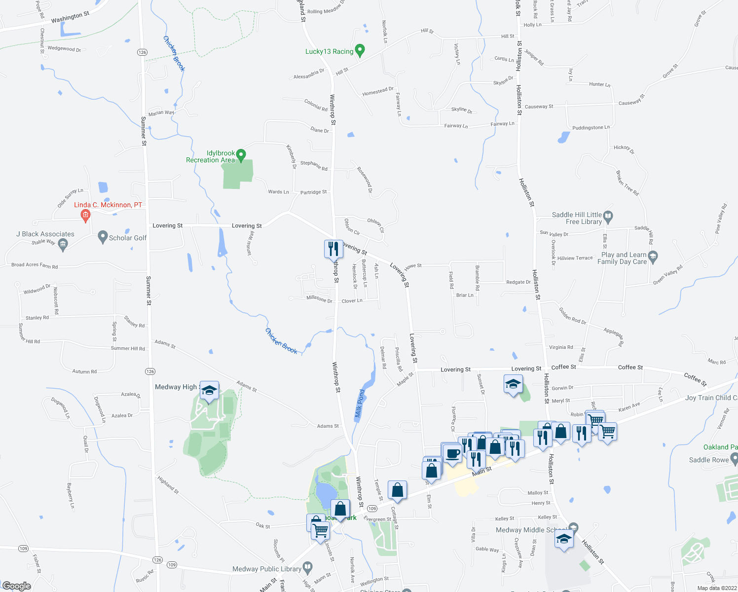 map of restaurants, bars, coffee shops, grocery stores, and more near 19 Buttercup Lane in Medway