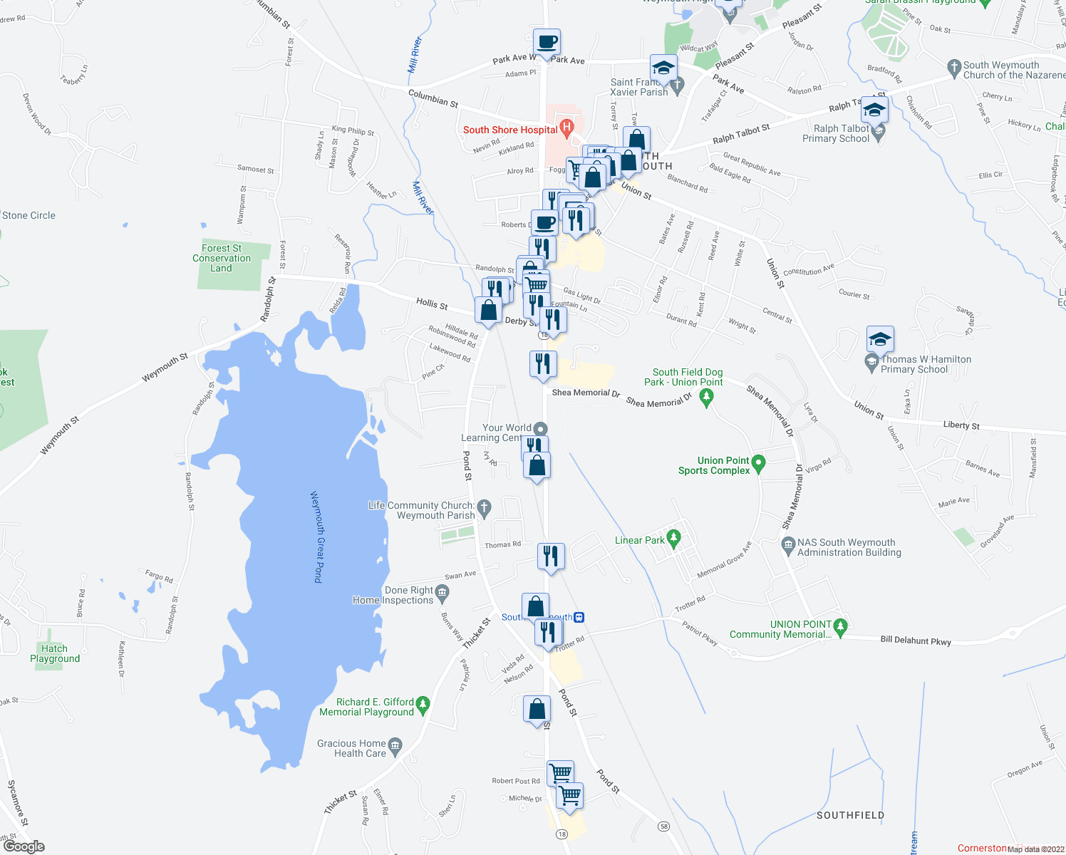 map of restaurants, bars, coffee shops, grocery stores, and more near 11 Woodcrest Court in Weymouth