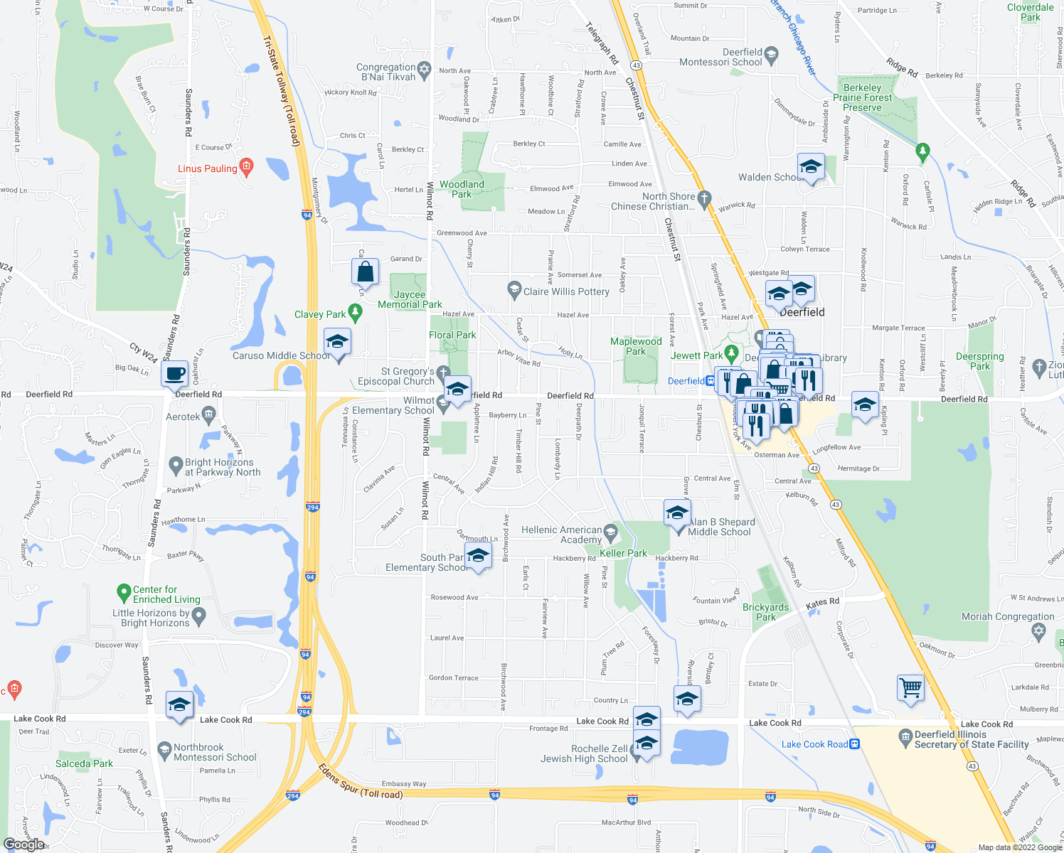 map of restaurants, bars, coffee shops, grocery stores, and more near 710 Pine Street in Deerfield