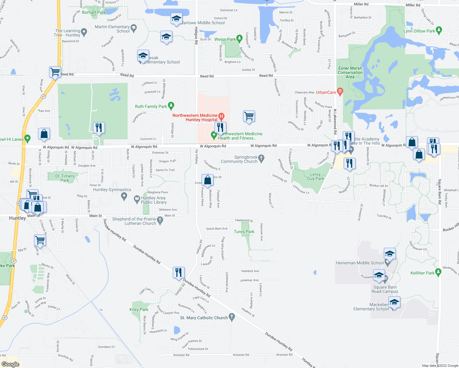 map of restaurants, bars, coffee shops, grocery stores, and more near 10868 Braemar Parkway in Huntley