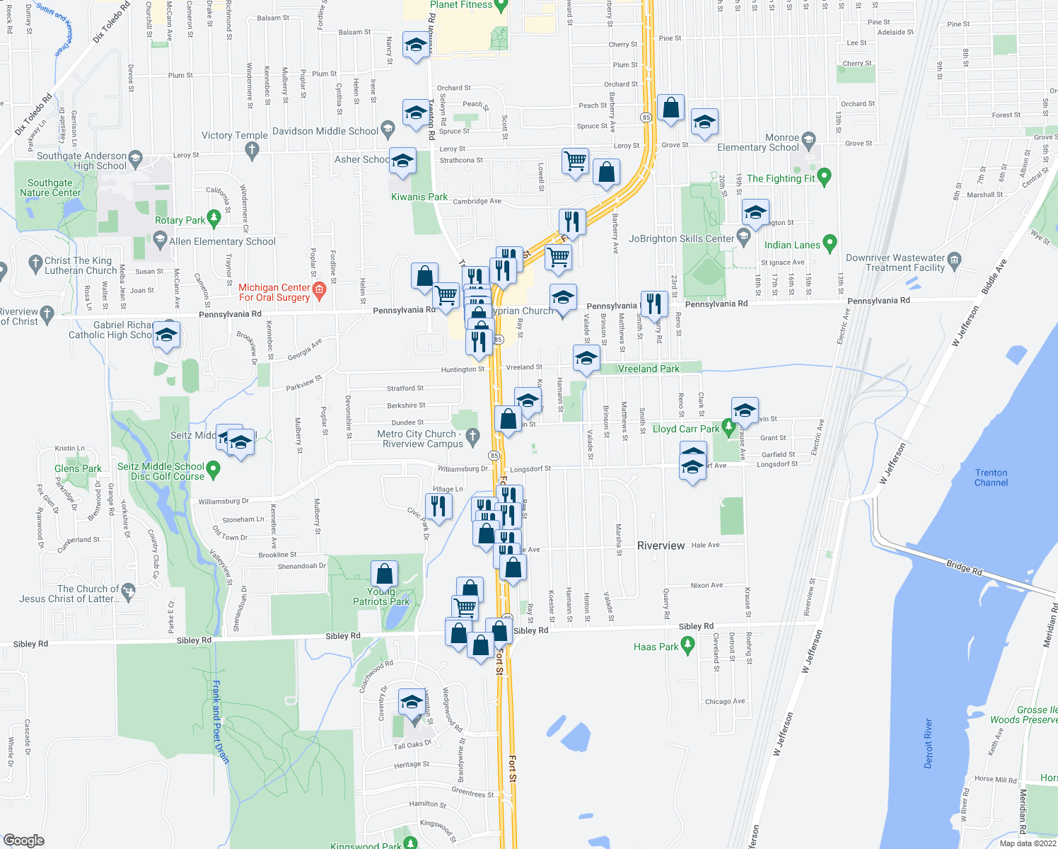 map of restaurants, bars, coffee shops, grocery stores, and more near 17558 Koester Street in Riverview