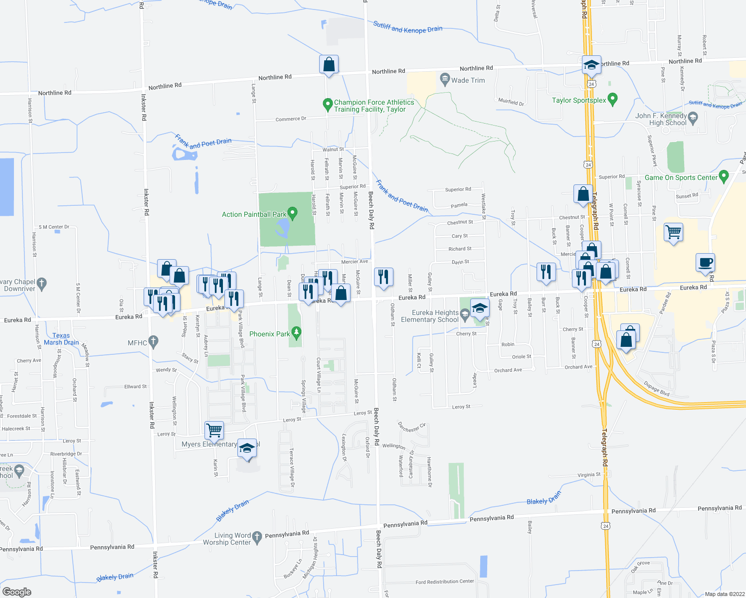 map of restaurants, bars, coffee shops, grocery stores, and more near Eureka Road & South Beech Daly Road in Taylor