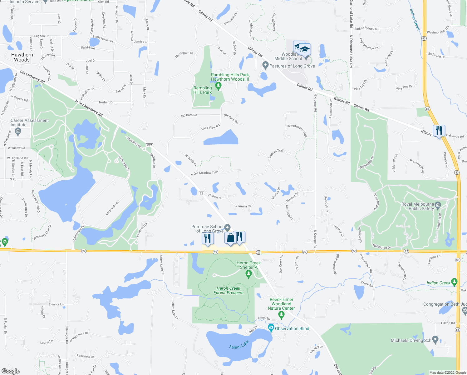 map of restaurants, bars, coffee shops, grocery stores, and more near 4590 Pamela Court in Long Grove